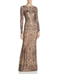 Betsy & Adam - Long-sleeve Sequin Gown - Lyst