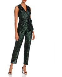MILLY Sequin Tie - Waist Jumpsuit - Green