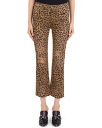 The Kooples - Distressed Cropped Jeans In Leopard Chocolate - Lyst