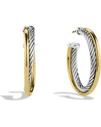 David Yurman - Crossover Medium Hoop Earrings With Gold - Lyst