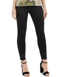 Ted Baker - Massiee Embroidered-hem Skinny Jeans In Black - Lyst