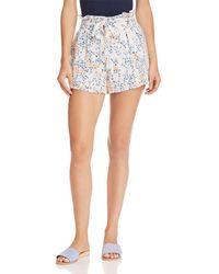 Aqua - Floral Paperbag-waist Shorts - Lyst