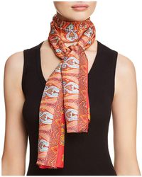 Echo - Sea Fan Paisley Print Silk Oblong Scarf - Lyst