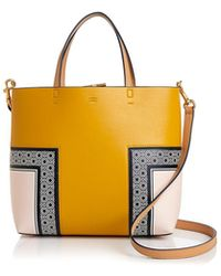Tory Burch - Block T Printed Mini Leather Tote - Lyst