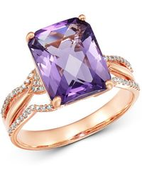 Bloomingdale's - Amethyst & Diamond Ring In 14k Rose Gold - Lyst