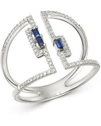KC Designs - 14k White Gold Diamond & Blue Sapphire Open Ring - Lyst