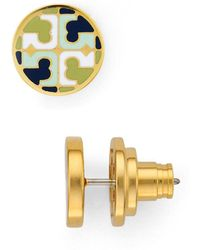 bffdb0878 Lyst - Tory Burch Small Logo-t Stud Earrings in Metallic