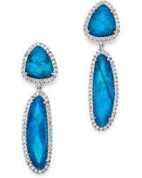 Meira T - 14k White Gold Chrysocolla Doublet And Diamond Dangle Earrings - Lyst