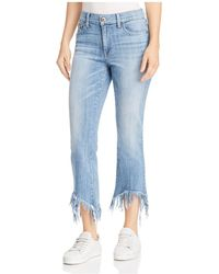 Pistola - Tallis Frayed Cropped Flared Jeans In Aquarius - Lyst