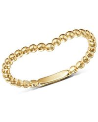 Moon & Meadow - Beaded V-ring In 14k Yellow Gold - Lyst