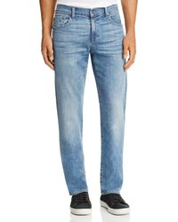 7 For All Mankind - Carsen Homage Straight Fit Jeans In Light Wash - Lyst