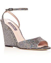 SJP by Sarah Jessica Parker - Women's Boca Glitter Ankle Strap Wedge Sandals - Lyst