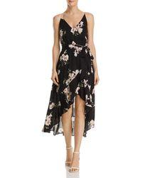 Aqua - Floral Print Gauze High/low Dress - Lyst