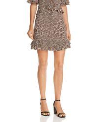 Aqua - Flounce-hem Leopard Print Skirt - Lyst