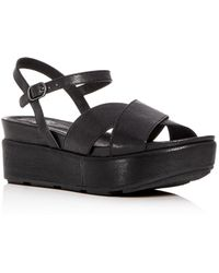 Eileen Fisher - Women's Juno Leather Crisscross Platform Sandals - Lyst