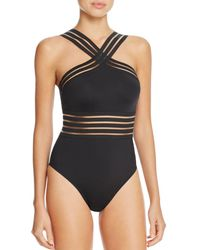 Kenneth Cole - High Neck One Piece Swimsuit - Lyst