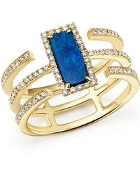 Meira T | 14k Yellow Gold Triple Band Opal And Diamond Ring | Lyst