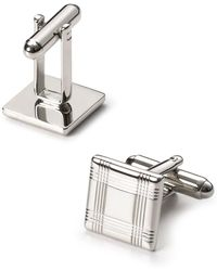 Bloomingdale's - Silver-tone Check Square Cufflinks - Lyst
