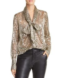 Equipment - Luis Metallic Tie-neck Shirt - Lyst