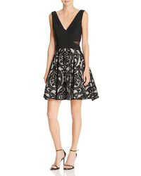 Betsy & Adam - Fit-and-flare Combo Cocktail Dress - Lyst