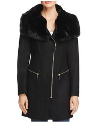 Via Spiga - Asymmetric Zip Faux Fur Trim Coat - Lyst