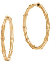 John Hardy - 18k Yellow Gold Bamboo Medium Hoop Earrings - Lyst