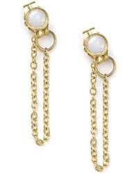 Zoe Chicco - 14k Yellow Gold Draped Chain And Opal Stud Earrings - Lyst