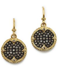 Armenta - Blackened Sterling Silver & 18k Yellow Gold Old World Champagne Diamond Carved Disc Earrings - Lyst