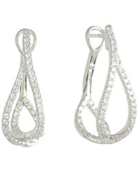 Frederic Sage - 18k White Gold Diamond Small Crossover Hoop Earrings - Lyst