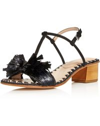 Pour La Victoire - Women's Julie Nubuck Leather & Raffia T-strap Block Heel Sandals - Lyst