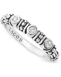 Lagos - Sterling Silver Three Diamond Stacking Ring - Lyst