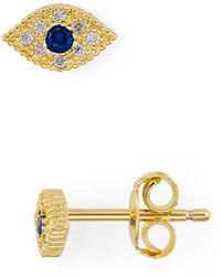 Aqua - Evil Eye Pavé Stud Earrings In 18k Gold - Plated Sterling Silver - Lyst
