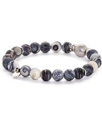 Tateossian - Rhodium Mesh Bead Bracelet - Lyst