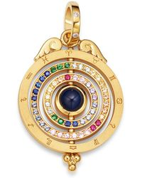 Temple St. Clair - 18k Yellow Gold Tolomeo Three Ring Multicolour Sapphire & Diamond Pendant - Lyst