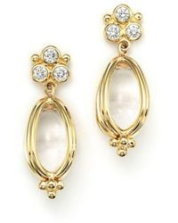 Temple St. Clair - 18k Gold Classic Amulet Earrings With Oval Rock Crystal And Diamonds - Lyst