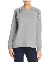 Aqua - Lace-up Sleeve Sweatshirt - Lyst