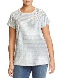 Lucky Brand - Striped Lace-up T-shirt - Lyst