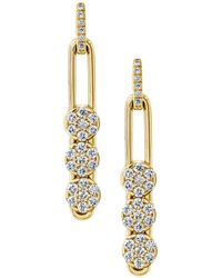 Hulchi Belluni - 18k Yellow Gold Tresore Diamond Trio Linear Drop Earrings - Lyst