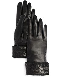 Bloomingdale's - Woven Detail Leather Gloves - Lyst