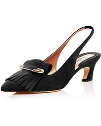 Brian Atwood - Women's Georgina Suede Kiltie Fringe Slingback Court Shoes - Lyst