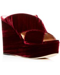 Sergio Rossi - Women's Velvet Crisscross Platform Wedge Slide Sandals - Lyst