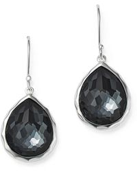 7ca4e7a11a3 Ippolita - Sterling Silver Wonderland Hematite And Clear Quartz Doublet  Mini Teardrop Earrings - Lyst
