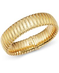 Bloomingdale's - 14k Yellow Gold Wide Band Tubogas Diamond Cut Bracelet - Lyst