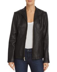Cole Haan - Wing Collar Leather Jacket - Lyst