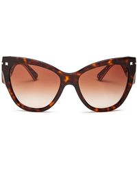 689cc166db Lyst - Valentino V Logo Oversized Sunglasses in Brown