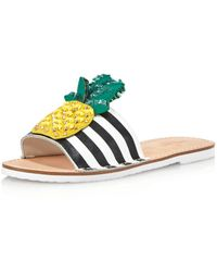 485f5758ad241 Kate Spade - Women s Icarus Studded Leather Pineapple Slide Sandals - Lyst