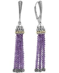 Lagos - 18k Gold And Sterling Silver Caviar Icon Tassel Earrings With Amethyst - Lyst