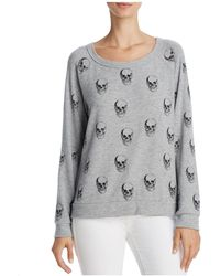Aqua - Lauren Moshi X Distressed Skull-print Sweatshirt - Lyst