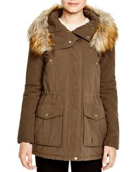 DKNY - Faux Fur Trim Hooded Anorak - Lyst