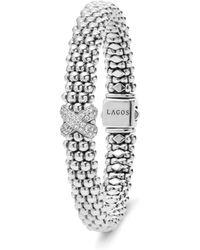 Lagos - Sterling Silver Caviar Diamond X Rope Bracelet - Lyst